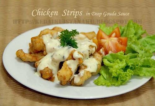 Chicken Strips in Deep Gouda Sauce