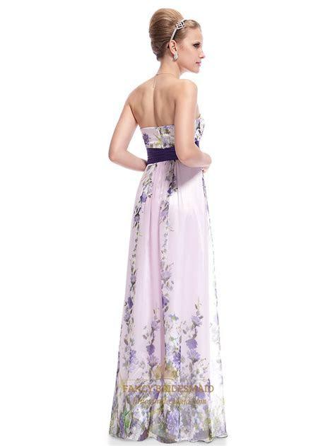 Lilac Floral Print Chiffon Prom Dress,Floral Print Maxi