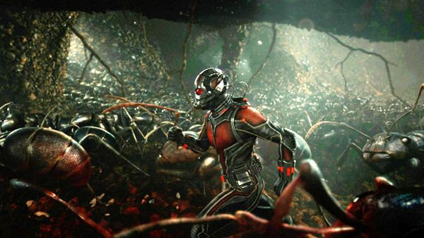 Scott Lang (Paul Rudd) is flanked by his insect army in ANT-MAN.