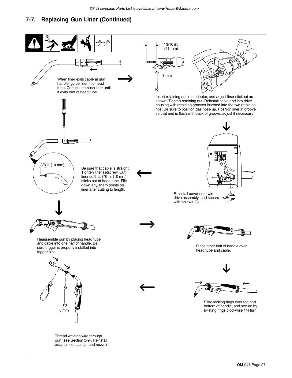 7 . replacing gun liner (continued)   Hobart Welding ...