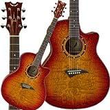 Dean Exotica Quilt Ash Acoustic-Electric Trans Guitar, Cherryburst