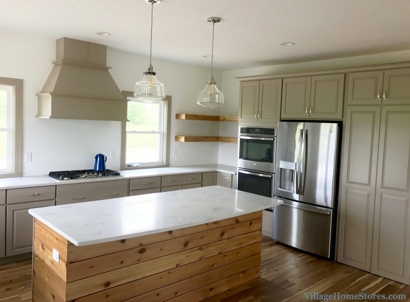 Taupe Painted Cabinets And Marble Look Granite