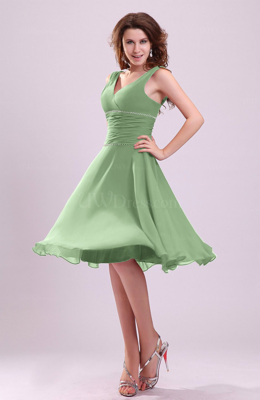 sage green cute aline sleeveless chiffon knee length