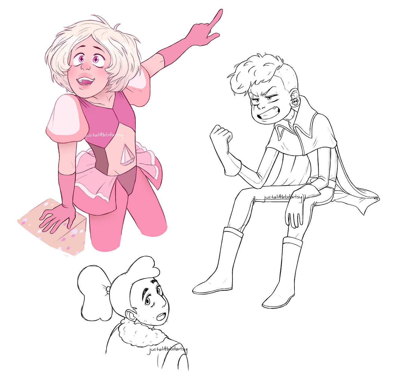 steven universe got me FUCKED UP. i will die for pink, captain, and prickly stevonnie. (art by me, do not repost without credit.)