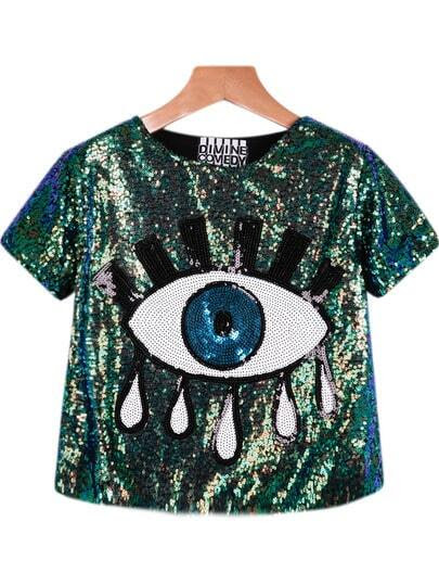 Green Short Sleeve Sequined Eye Print Blouse pictures
