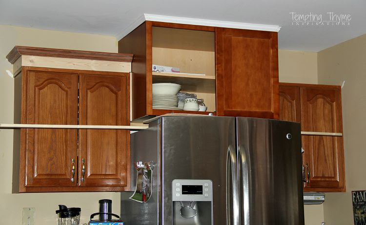 Adding height to the kitchen cabinets   tempting thyme