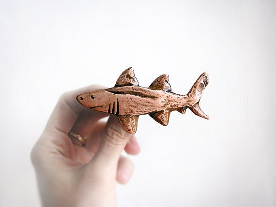 Brooch Big Shark, copper, handmade nautical jewelry, shabby chic