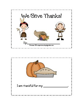 "Thanksgiving ""I'm Thankful For..."" Mini-Book"