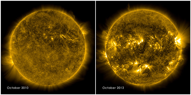 Left, shows a calm sun from Oct. 2010. Right, from Oct. 2012, shows a much more active and varied solar atmosphere as the sun moves closer to peak solar activity, or solar maximum, predicted for 2013.