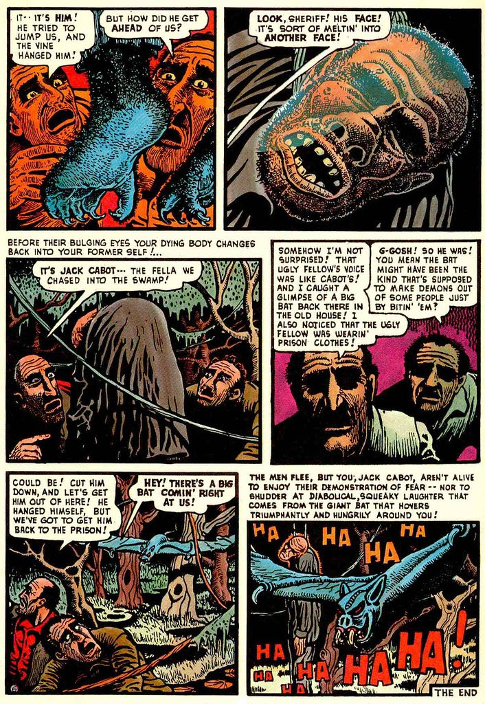 Basil Wolverton - Swamp Monster, Page 6 (Weird Mysteries # 5, 1953)