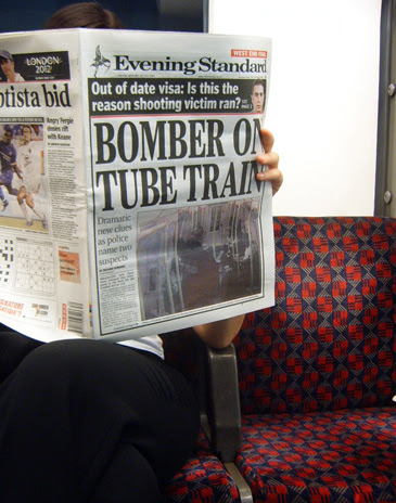 Evening Standard front page of bomber on the tube