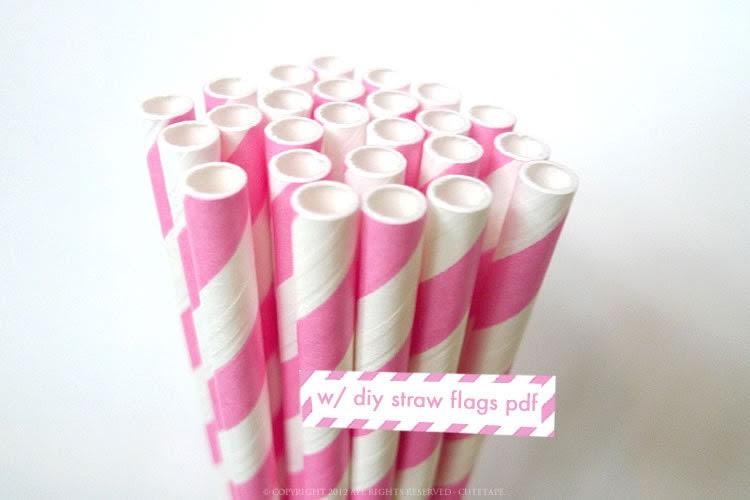 Princess PINK Paper Straws Pink and White Striped Straws - set of 25 Pink Straws w/ DIY Straw Flag PDF - PaperStrawsParty