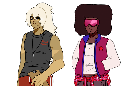 The gems in my Human AU. Pearl is a florist, Amethyst is a guitarist, Lapis is a pro swimmer, Peri works in a tech shop, Jasper is a personal trainer and Garnet a dance teacher.