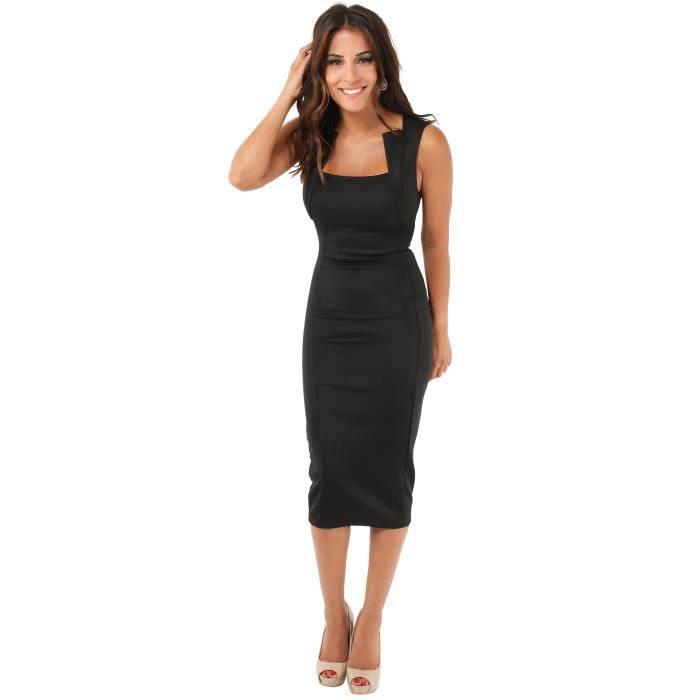 Robe Mi-Longue Moulante Noir Noir - Achat / Vente robe ...