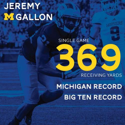Jeremy Gallon now owns the Michigan and Big Ten record for single-game receiving yards with 369. pic.twitter.com/8QAC4Igdbx<br />— Michigan Football (@umichfootball)<br />October 19, 2013<br /><br />