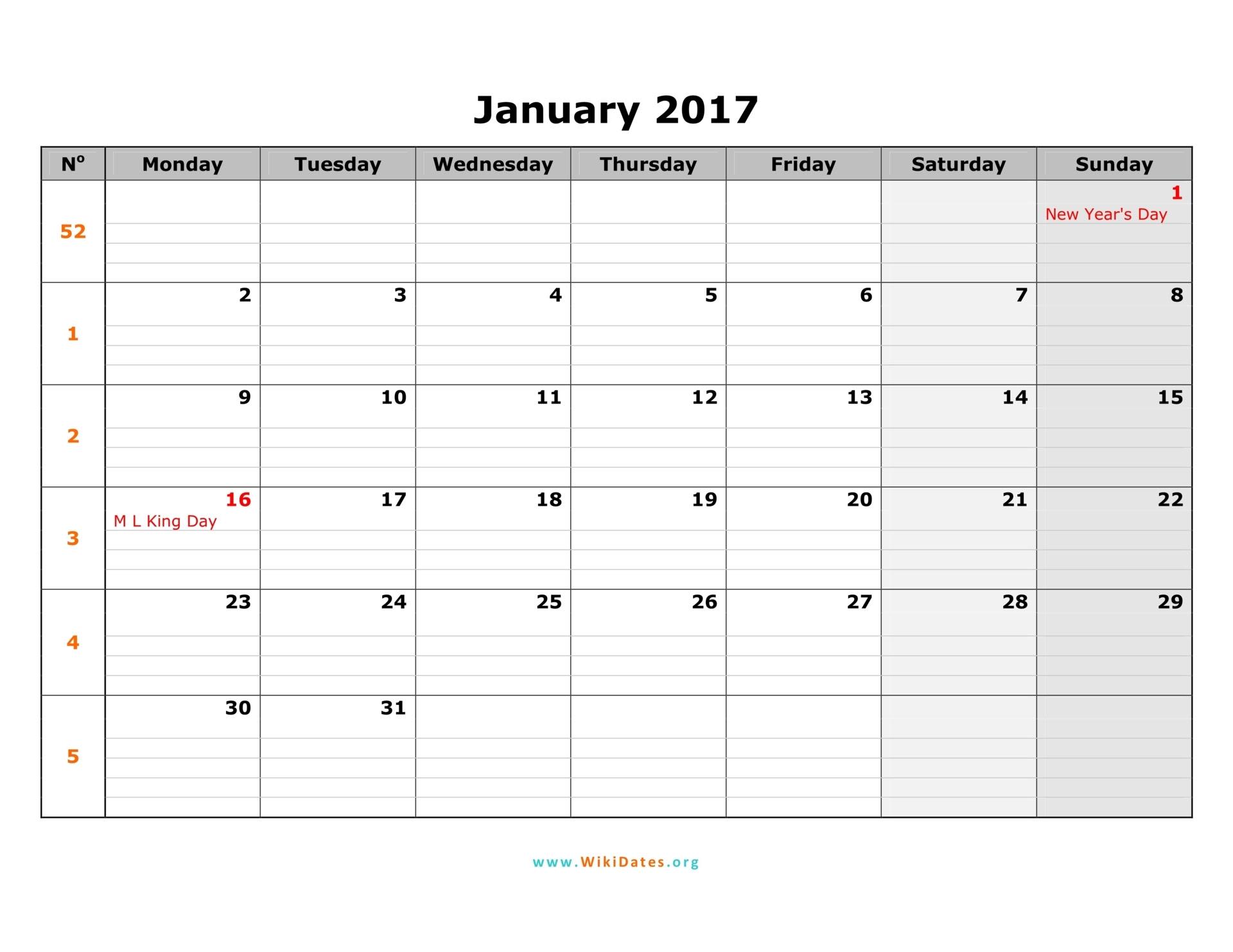 monday monthly calendar 2017 01