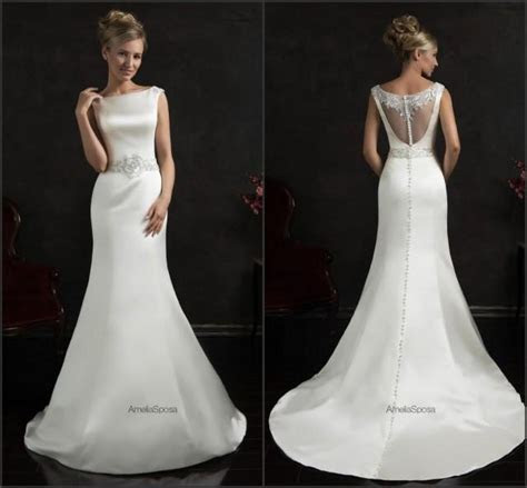 Bright 2015 Spring Mermaid Wedding Dresses White Satin