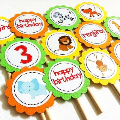 Wild Safari Animals Cupcake Toppers