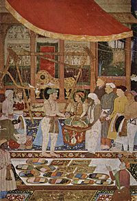 Emperor Jahangir weighing his son Prince Khurr...