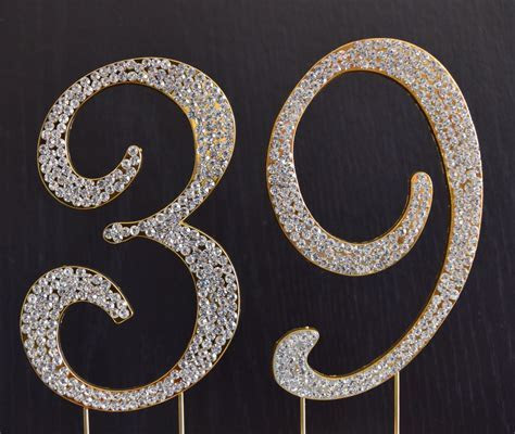 Rhinestone Gold NUMBER 39 Cake Topper 39th Birthday Party