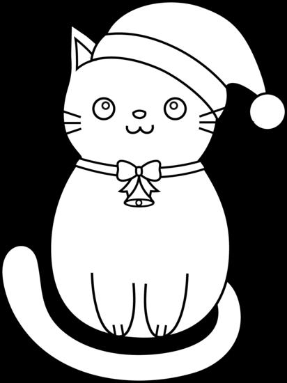 Christmas Cat Line Art - Free Clip Art