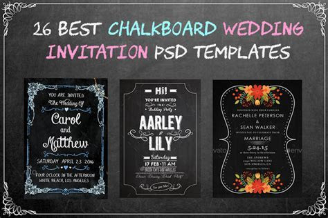 26 Best Chalkboard Wedding Invitation PSD Templates