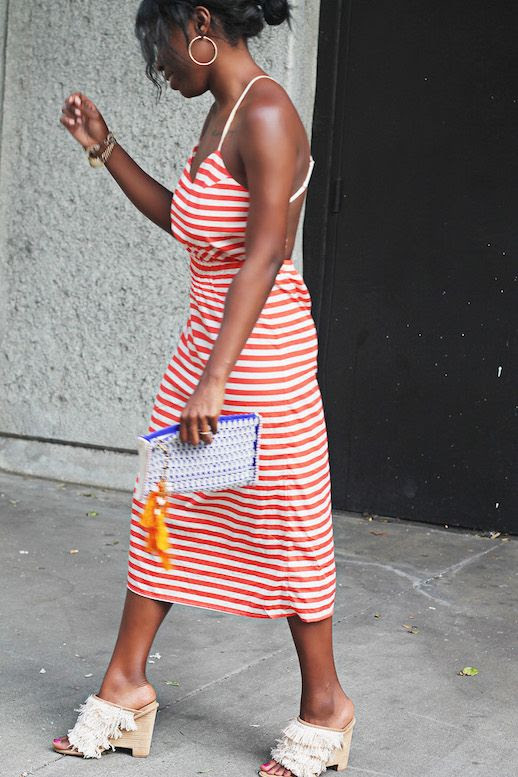 Le Fashion Blog 3 Striped Dresses Orange White Striped Dress Tibi Mules Via Were Not Exclusive