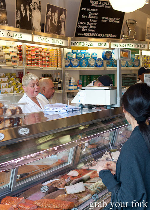 service counter at russ & daughters smoked fish nyc new york usa jewish food lower east side les
