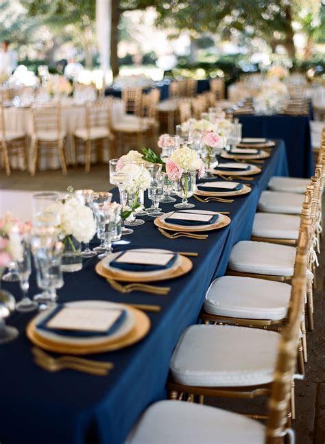 Elegant Navy and Gold Rectangular Reception Table   Blue