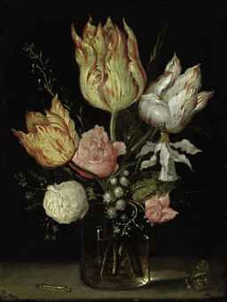 Tulips, roses, a bluebell, Narcissus tortuosis, forget-me-nots, lily of the valley and cyclamen in a flask, on a ledge with a caterpillar, butterfly and dragonfly