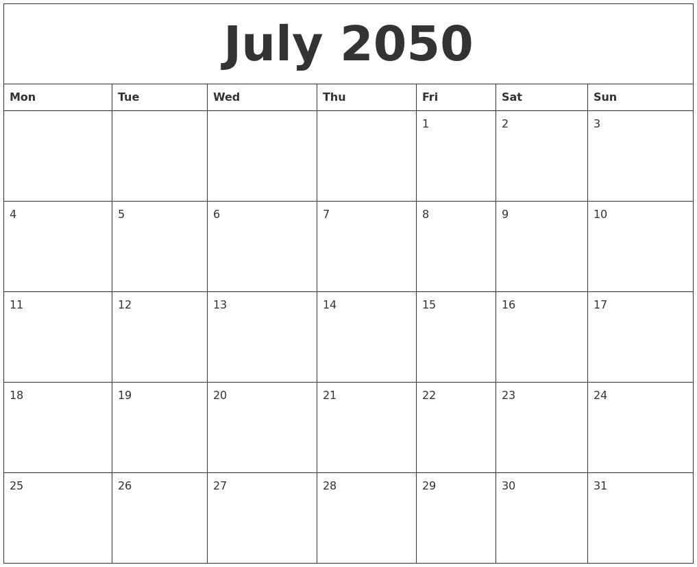 july 2050 free weekly calendar monday start