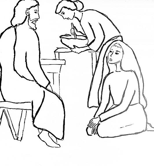 Jesus at the Home of Martha and Mary Luke 10:3842 coloring page Free ...