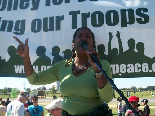 Nellie Hester Bailey of the Harlem Tenants Council in New York addressing the anti-war rally organized by UNAC at the One Nation march and rally in Washington, D.C. on October 2, 2010. (Photo: Abayomi Azikiwe) by Pan-African News Wire File Photos