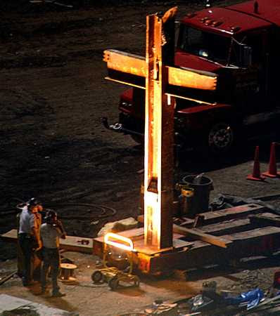 September 13, 2001. Steel cross found in WTC ruins