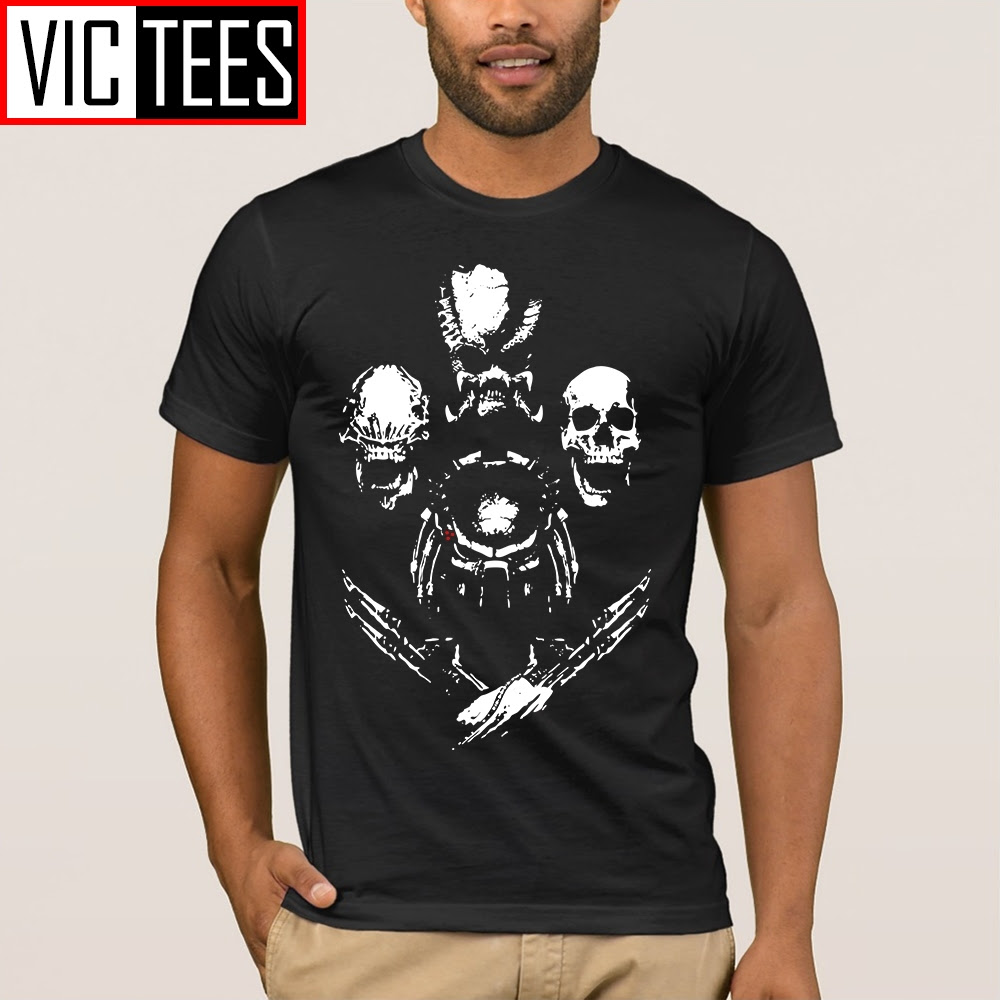 Men's Vintage Tees Trophy Hunter Aliens vs Predator Horror Men T Shirts Male 100% Cotton T-Shirt Design Round Collar Tops