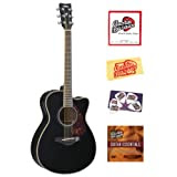 Yamaha FSX720SC Small Body Cutaway Acoustic-Electric Guitar Bundle with Instructional DVD, Strings, Pick Card,...