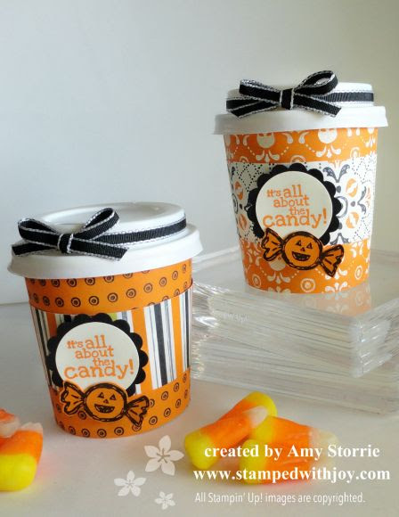 by Amy Storrie, Stamped with Joy.  Mini Coffe Cup Halloween Treat