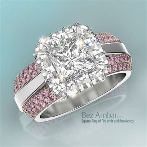 "1 Carat Princess Cut Engagement Ring  ""Ring of Fire"""