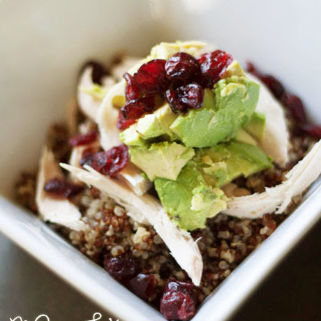 chicken quinoa avocado cranberry bowl recipe