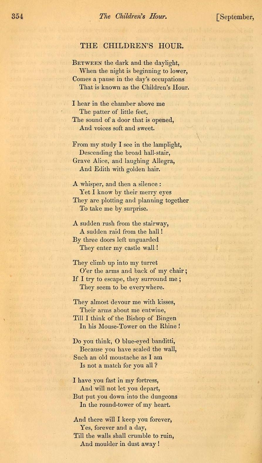 "HENRY WADSWORTH LONGFELLOW , ""The Children's Hour,"" Atlantic ..."