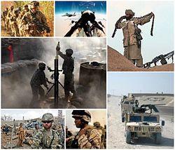 in senso orario da in alto a sinistra: marines britannici partecipano alla clearance del distretto di Nad-e Ali nella provincia di Helmand; due cacciabombardieri F/A-18 in missione di combattimento; un guerrigliero anti-talebano in operazione nella provincia di Helmand; un soldato francese pattuglia una vallata nella provincia di Kapisa; un marine americano; insorti talebani in un rifugio; soldati americani preparano un mortaio allo sparo durante una missione nella provincia di Paktika