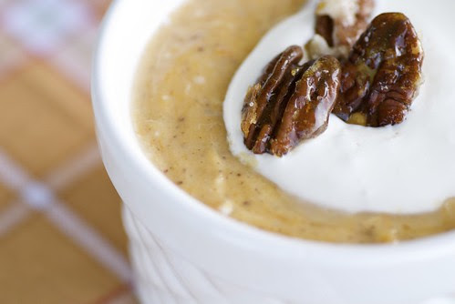 pumpkin pie pudding with candied pecans and freshly whipped cream