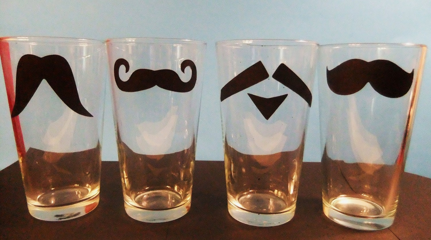 FREE Shipping Pint Set of 4 Mustache Glasses with FREE Shipping unitl Valentines Day