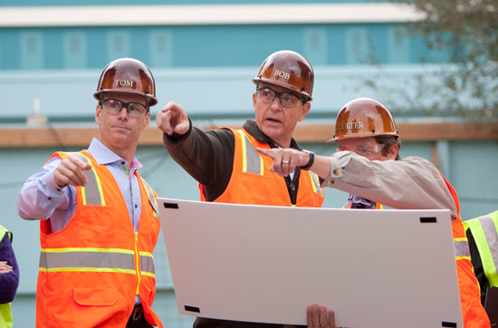 Disney President and CEO Bob Iger and Chairman of Walt Disney Parks and Resorts Tom Staggs Behind the Construction Walls at Disney California Adventure Park for a Hard-hat Tour of Buena Vista Street and Cars Land
