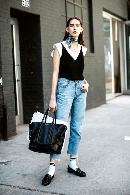 Le Fashion Blog 90s Inspired Street Style Silk Neck Scarf Hoop Earrings Black Cami Over White Tee Tote Bag Raw Hem Jeans Striped Ankle Socks Patent Loafers Via Vogue Paris
