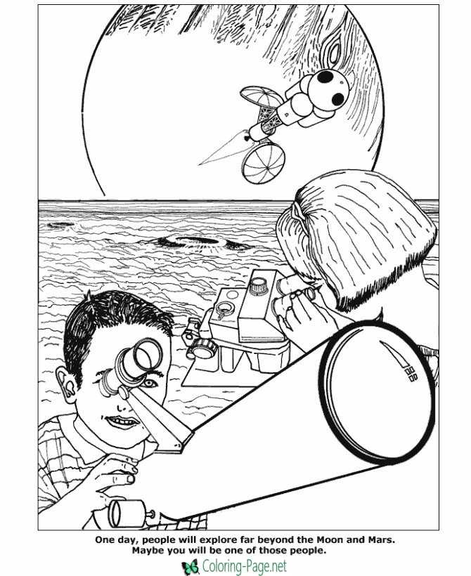 Download Space Coloring Pages Telescope