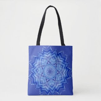 Blue Mandala Design on Tote Bag