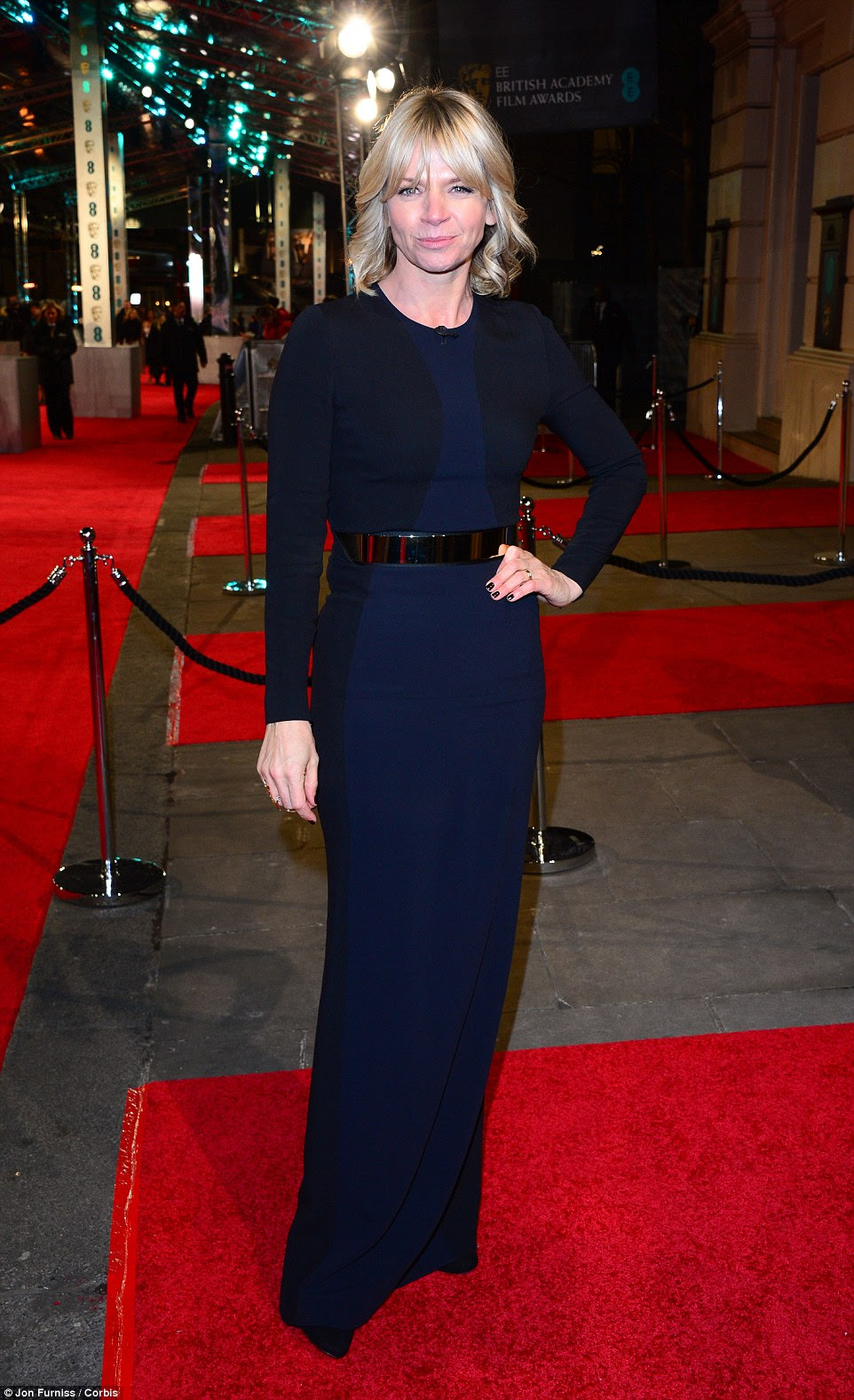 On the ball! Zoe Ball looked sensational in her navy pillar dress which swept the floor