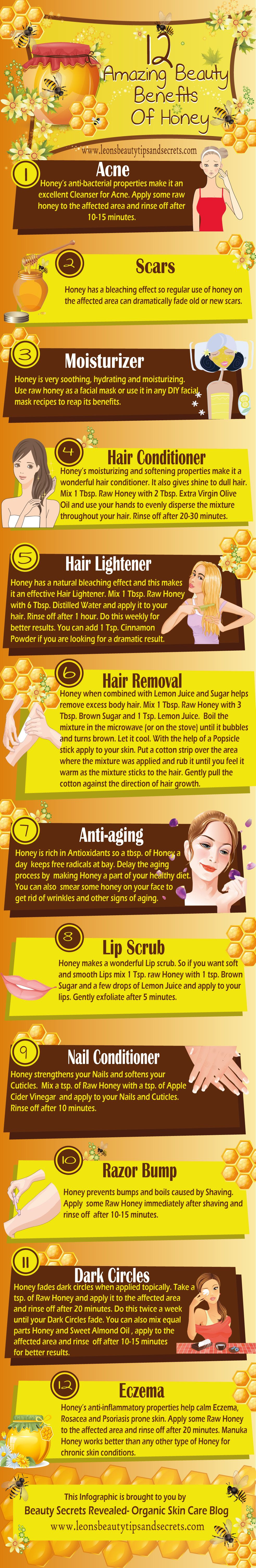 12 Amazing Beauty Benefits Of Honey #infographic