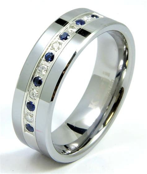 Diamond Sapphire Tungsten Modern Men's Wedding Ring Band